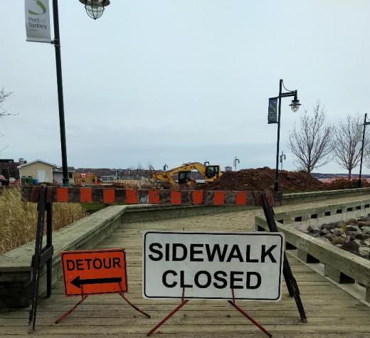 Construction on CBRM boardwalk. 13 Nov 2018 (Spectator photo)