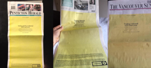 Postmedia front page ads, October 2015 (Source: National Observer https://www.nationalobserver.com/2015/10/18/opinion/yellow-stain-bystander-bigotry-newspaper-endorsements)