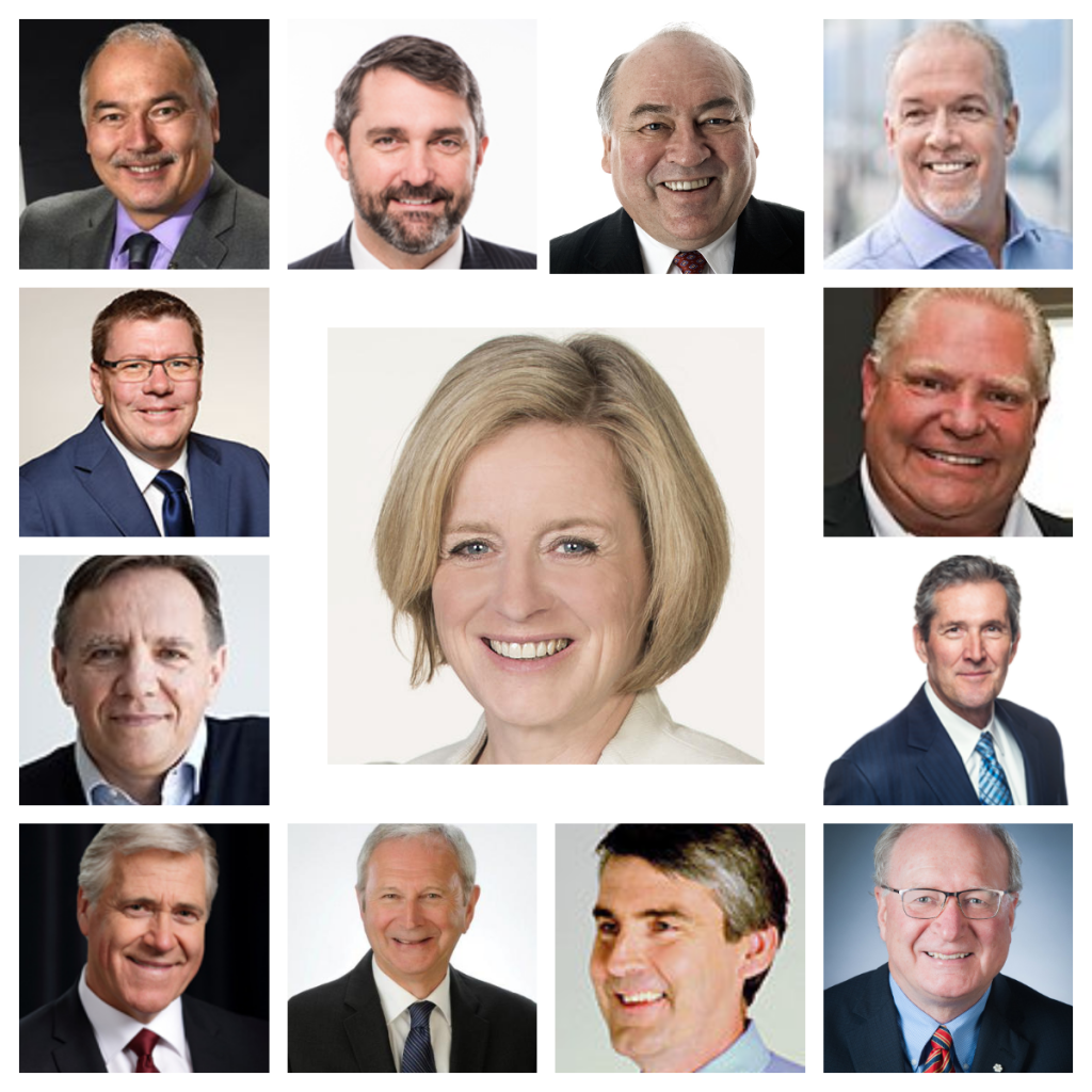 Canadian provincial and territorial premiers as of 9 Nov. 2018, clockwise from upper left: Joe Savitaaq (Nunavut), Sandy Silver (Yukon), Bob MacLeod (NWT), John Horgan (BC), Doug Ford (ON), Brian Pallister (Man), Wade MacLauchlan (PEI), Stephen McNeil (NS), Blaine Higgs (NB), Dwight Ball (Nfl & Lab), François Legault (QC), Scott Moe (Sask). Centre: Rachel Notley (AB)
