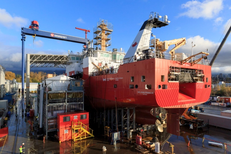 The Sir John Franklin, an offshore fisheries science vessel, is nearing completion at Seaspan's Vancouver Shipyards in North Vancouver. The ship will be launched Dec. 8 and then towed on Dec. 12 to Victoria, for final trials and testing. Two other similar vessels are also being built in North Vancouver. Photograph By HEATH MOFFATT PHOTOGRAPHY, SEASPAN