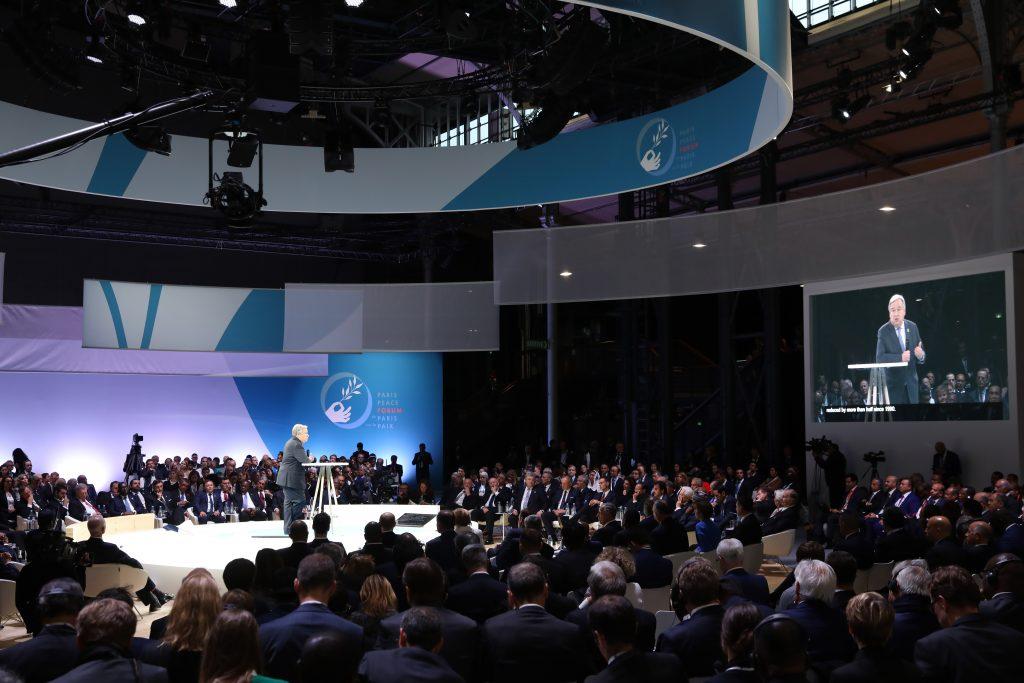 Secretary-General António Guterres (on stage) addresses the Paris Peace Forum during his visit to Paris. (11 Nov 2018)
