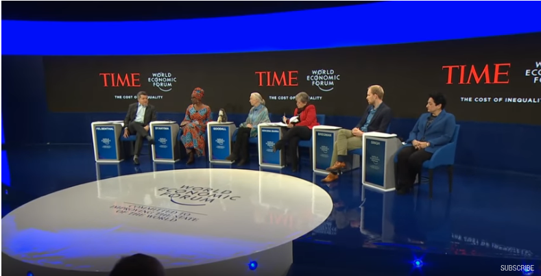 The Cost of Inequality Panel, World Economic Forum 2019, Davos. L-R Moderator, Edward Elsenthal; Winnie Byanyima, Jane Goodall, Alicia Bárcena Ibarra, Rutger Bregman, Shamina Singh (Source: YouTube)