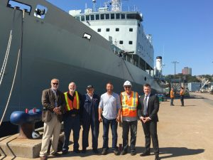 MRC excitedly welcoming the arrival of the HMCS Preserver and the CFAV Quest at its new location in Sydport Industrial Park in Sydney, Nova Scotia. 11 August 2017