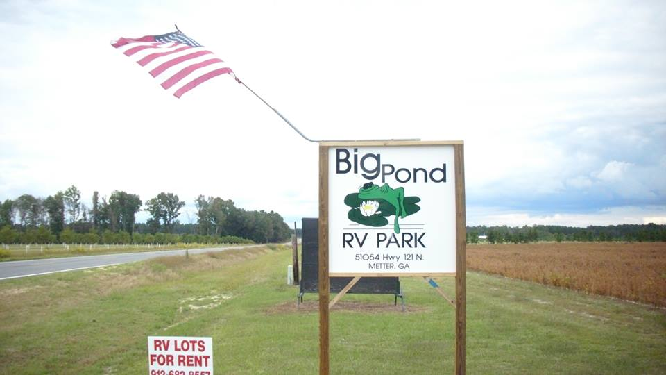 Big Pond RV Park, Metter, GA. Source: Facebook https://www.facebook.com/Big-Pond-RV-Park-547995815275887/