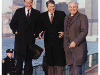 President Reagan, Vice-President Bush meet with Soviet General Secretary Gorbachev on Governor's Island, New York, 1988. http://www.reagan.utexas.edu/archives/photographs/photo.html