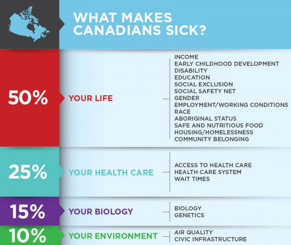 Social determinants of health (Infographic courtesy of the Canadian Medical Association.)