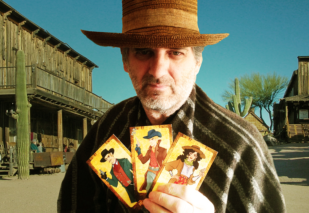 Randall Thompson with Get Billy the Kid! character cards.