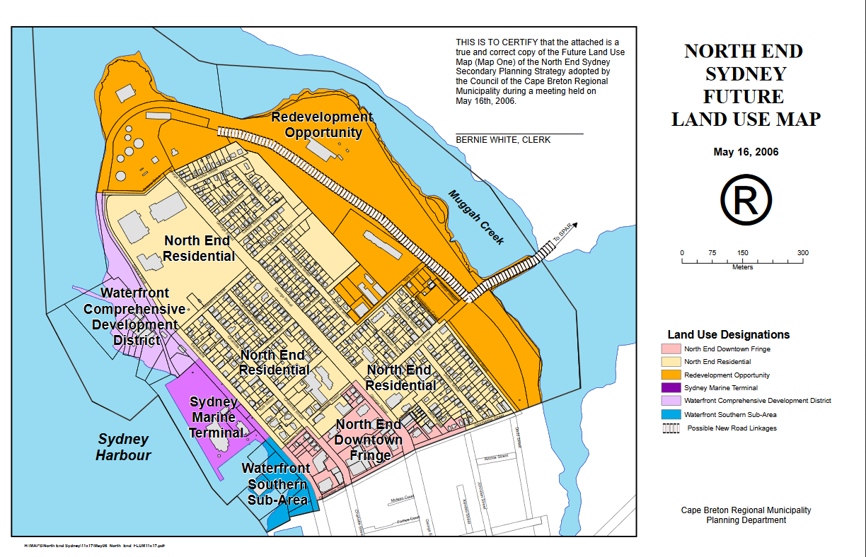 North End Sydney, NS, Future Use Land Map. Source: CBRM
