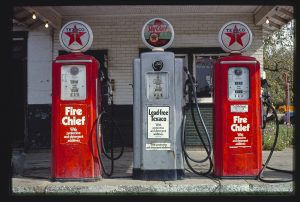 Vintage gas pumps. Texas. (The Library of Congress from Washington, DC, United States.)