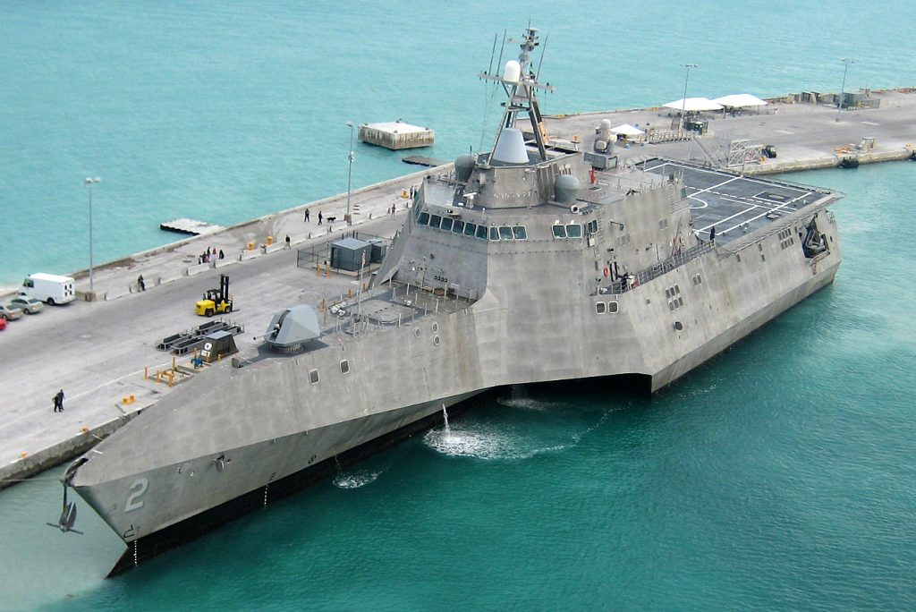 The U.S. Navy littoral combat ship USS Independence (LCS-2) arrives at Mole Pier at Naval Air Station Key West, Florida (USA), on 29 March 2010. U.S. Navy photo by Naval Air Crewman 2nd Class Nicholas Kontodiakos [Public domain]