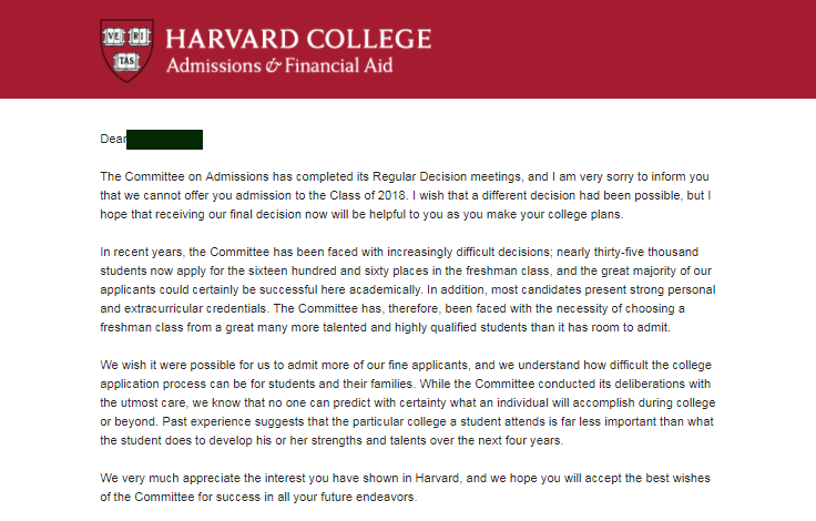 Rejection letter from Harvard. (Source: Quora)