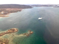 Akademik Ioffe, Gulf of Boothia. (Source: Nunatsiaq News https://nunatsiaq.com/stories/article/tsb-continues-its-look-august-2018-cruise-ship-grounding-in-nunavut/)