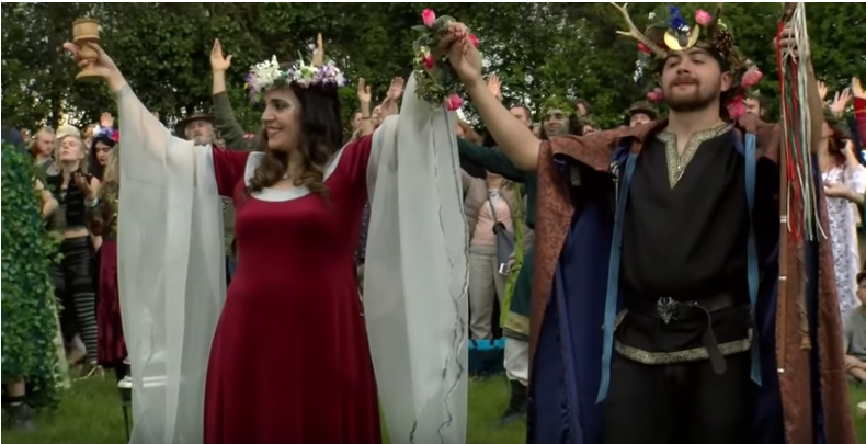King and Queen of the May. Beltane celebrations, Glastonbury, 2019. (Source: YouTube https://www.youtube.com/watch?v=DB3eaxuFS7M)