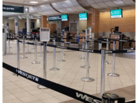 WestJet check-in, Regina Airport (Photo by Johnnyw3, CC BY-SA 4.0 https://creativecommons.org/licenses/by-sa/4.0)
