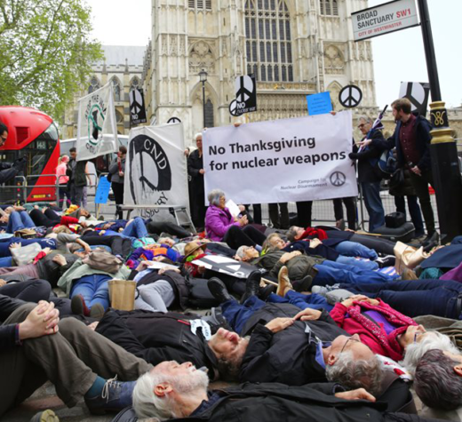 Campaign For Nuclear Disarmament demonstration, Westminster Abbey May 3, 2019 (source: Facebook)