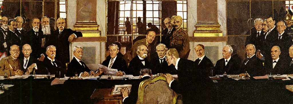 Johannes Bell of Germany is portrayed signing the peace treaties on 28 June 1919 in The Signing of Peace in the Hall of Mirrors by Sir William Orpen.