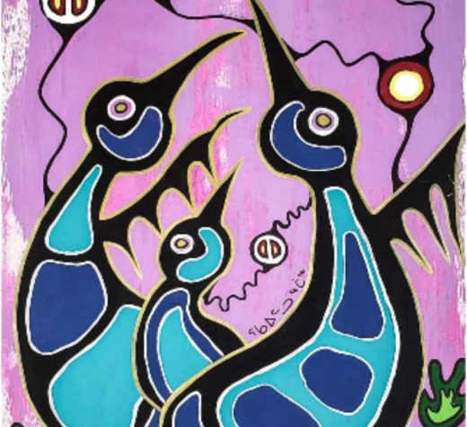 """Motherly love,"" painting/drawing by Dee-Jay Monika Rumbolt. MMIWG Gallery of Artistic Expressions https://www.mmiwg-ffada.ca/artists/motherly-love/"