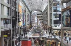 Toronto's Eaton Centre, facing south. (Public Domain via Wikimedia Commons)