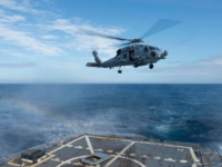 An MH-60R Seahawk from Helicopter Maritime Strike Squadron (HSM) 72 takes off from the flight deck of guided-missile destroyer USS Bulkeley (DDG 84) during international exercise Cutlass Fury 16. (U.S. Navy photo by Mass Communication Specialist Seaman Apprentice Colbey Livingston)