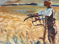 En høstarbejder (farmer taking a break) by Danish painter Peter Hansen (1868-1928), oil on canvas (cropped). Public Domain, via Wikimedia Commons.