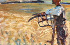 En høstarbejder (farmer taking a break) by Danish painter Peter Hansen (1868-1928), oil on canvas (cropped). Public Domain, via Wikimedia Commons.