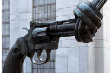 Non-Violence is a bronze sculpture by Swedish artist Carl Fredrik Reuterswärd of an oversized Colt Python .357 Magnum revolver with a knotted barrel and the muzzle pointing upwards. Reuterswärd made this sculpture after singer-songwriter and peace activist John Lennon was murdered. There are now 32 copies of the statue around the world, including this one at the UN headquarters in New York. (Wikipedia)