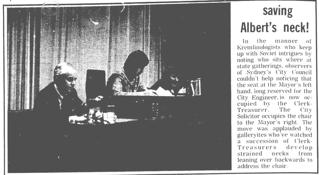 I include this clipping from the Cape Breton Highlander (24 March 1973) not because it's a great picture of Mayor Tubrett, but because the caption cracked me up and reminded me why I got into this racket.
