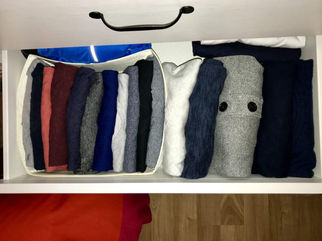 Clothing folded and stored the KonMari way. (Jean-Charles Sorin via Medium https://medium.com/@sorinjc/tidying-up-konmari-one-year-later-a32d34c3062a)