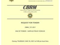 Cape Breton Regional Police Rolling Stock: Selling