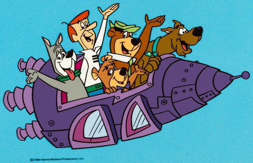 Hanna-Barbera characters in a rocket