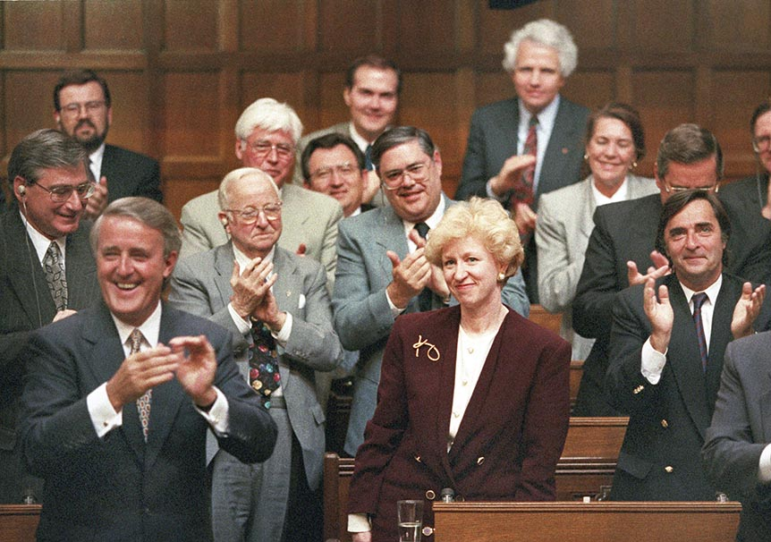 Prime Minister Kim Campbell in the House of Commons shortly after winning the leadership campaign. Photo courtesy of the Canadian National Archives