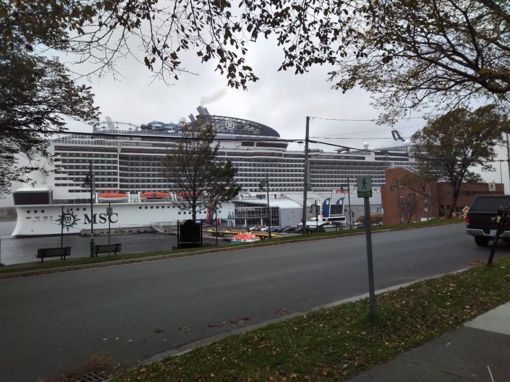 Big ship, grey day: the MSC Meraviglia in Sydney. The ship is 316 meters long, has a 4,500 passenger capacity, and lots of things to keep those passengers entertained. (Spectator photo)