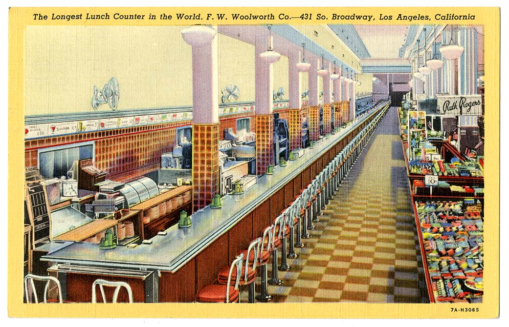 Post Card, longest lunch counter in world, Woolworth's, LA