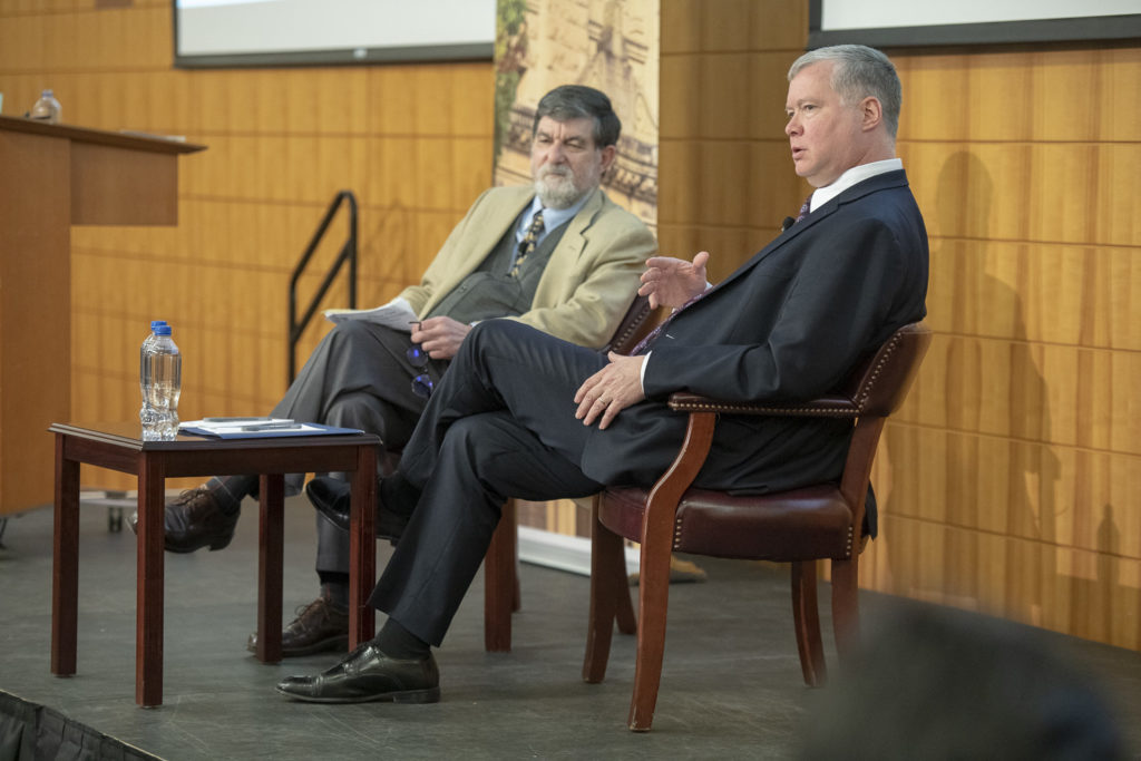 Robert Carlin (left) in conversation with US Special Representative for North Korea Stephen Biegun. Stanford University, January 2019.