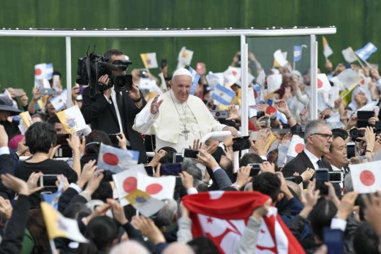 Pope Francis greets Japanese Catholics at Mass in Nagasaki, Japan Nov. 24. (Vatican Media/National Catholic Register)