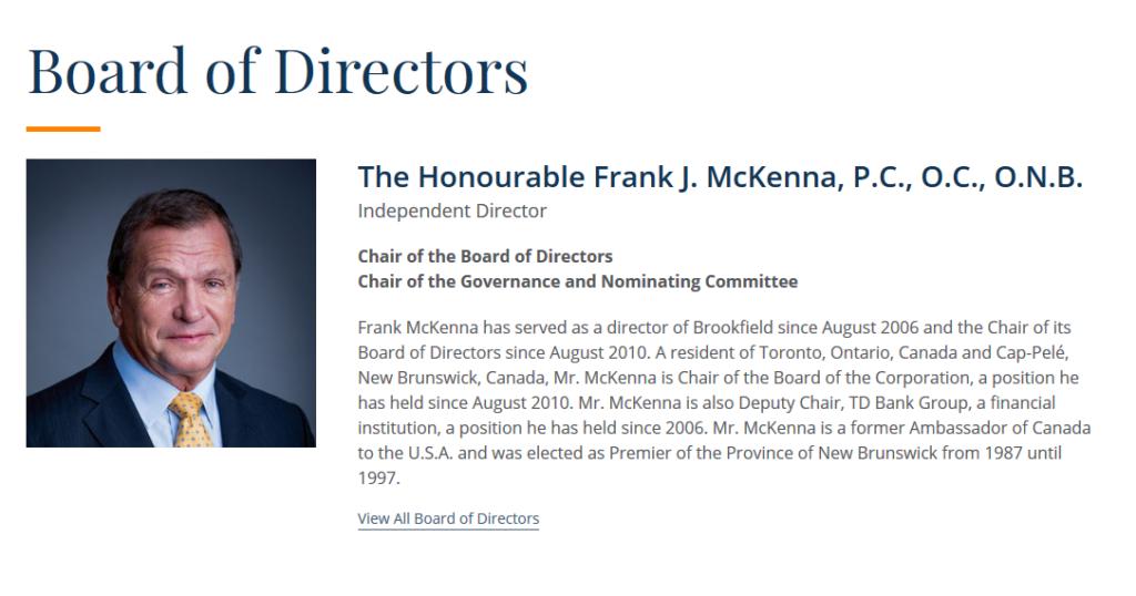 Frack MacKenna bio, Brookfield Asset Management