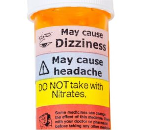 Pill bottle with warnings.