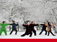People practise Tai Chi in the snow at a park in Shenyang, Liaoning province, China Reuters