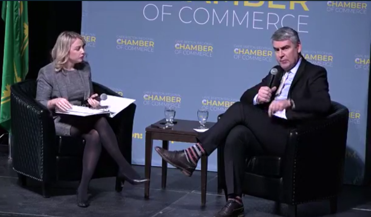 Cape Breton Regional Chamber of Commerce CEO Kathleen Yurcheson and Premier Stephen McNeil