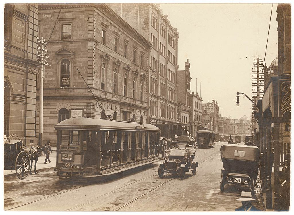 Trams on George Street, Sydney, NSW, 1920