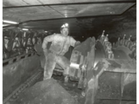 Miner underground posing with coal digger, 1 December 1987.  Date: 1987  Photographer: Owen Fitzgerald  Credit: Beaton Institute, Cape Breton University  Reference no.:   Beaton Institute, Cape Breton University  Mines & Mining: 88-366-17876 (a)