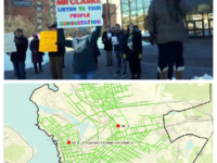 Top: Protesters call for public consultation on location of new Sydney Fire Station (2 March 2020). Bottom: Proposed site of new station. (IAFF report)