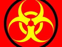 Biological hazard symbol (Andux, CC by SA 3.0 https://creativecommons.org/licenses/by-sa/3.0/deed.en, via Wikimedia Commons)