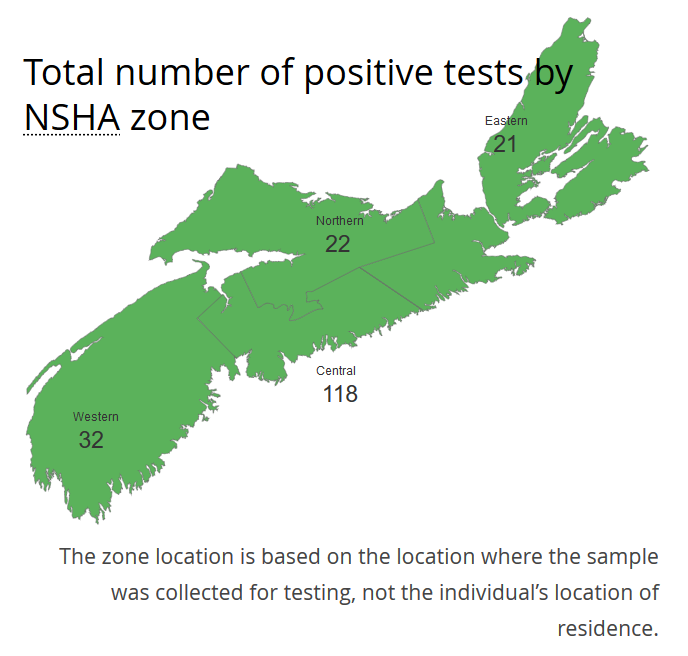 NSHA COVID-19 Postive Test Map