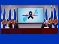 Premier Stephen McNeil and Dr. Robert Strang observe a moment of silence during the COVID-19 Update for 21 April 2020.