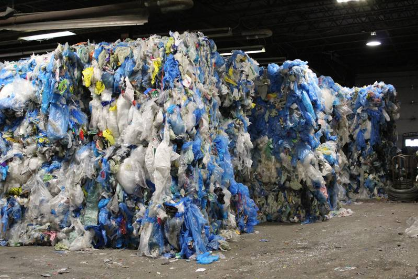 Mounds of film plastics fill up multiple rooms at Camden Recycling in Edwardsville, waiting to be shipped. (Photo by Nikki Sullivan, Cape Breton Post)