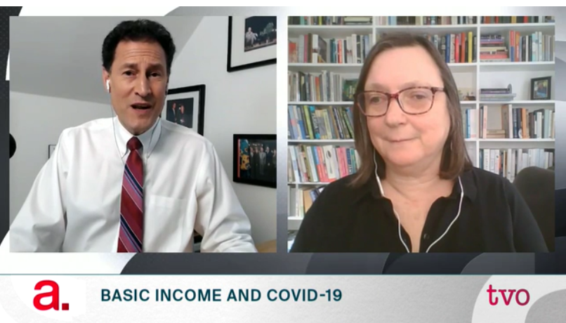 Steve Paikin, host of The Agenda and Dr. Evelyn Forget, 7 April 2020