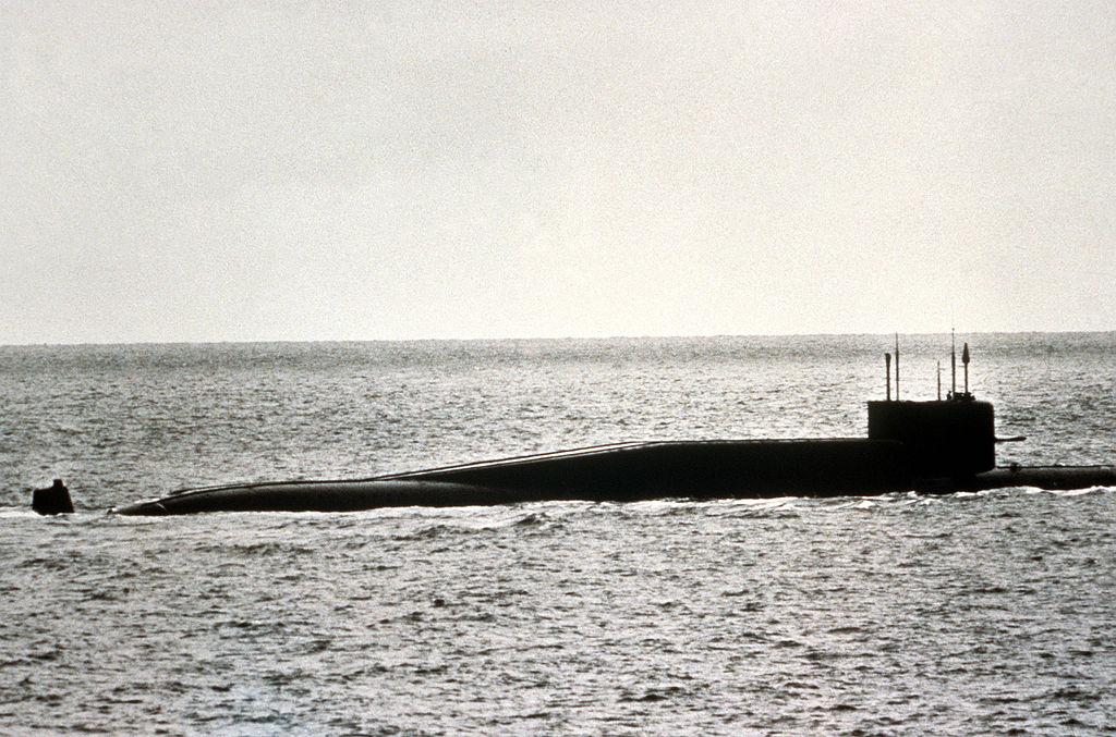 Delta II class nuclear-powered ballistic missile submarine (SSBN), 26 Oct 1983. US Navy photo.