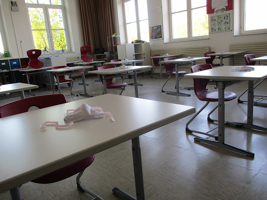 Classroom in German elementary school prepared for reopening after COVID-19 shutdown.