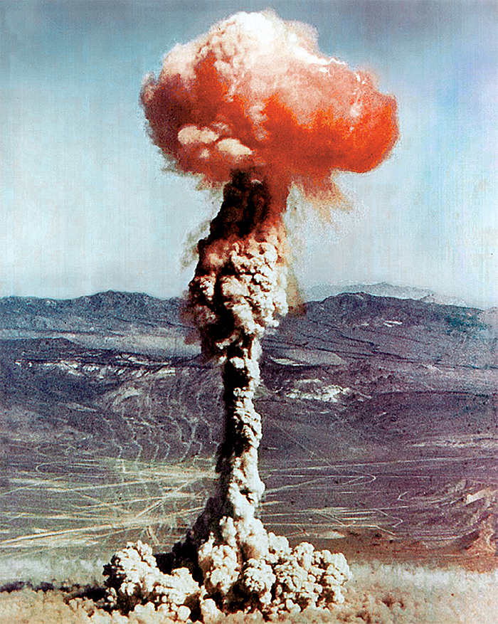 14 kiloton atomic explosion, from a 1951 US nuclear test at the Nevada Test Site. (Operation Buster-Jangle, Charlie)